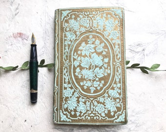 Romantic Antique Wedding Guest Book in Pale Blue & Gold, Wedding Vows, Anniversary Journal Keepsake, Fairytale Sign In Guest Book