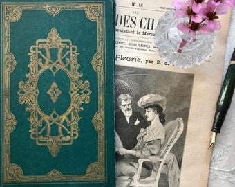 Vintage Green Guestbook, Blank Wedding Book, Boho Sign In book, Personalized Anniversary Journal, Rebound French Book