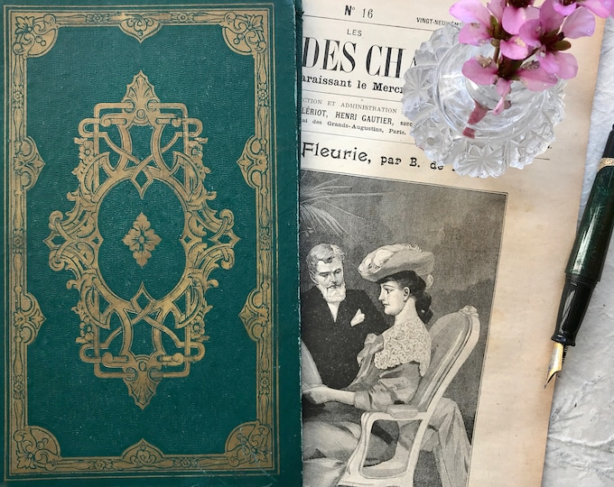Vintage Guestbook, Emerald Green and Gold Blank Boho Wedding Book, Art Nouveau French Book. Personalized Anniversary Journal, Upcycled