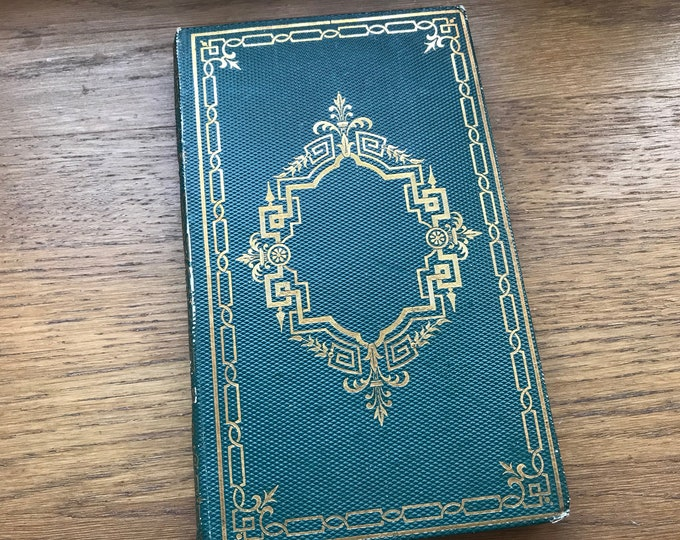 Small Journal, Unique Green Blank Book, Wedding Guestbook Idea made from an antique French book, Hand bound, Gift for Writer, Christmas