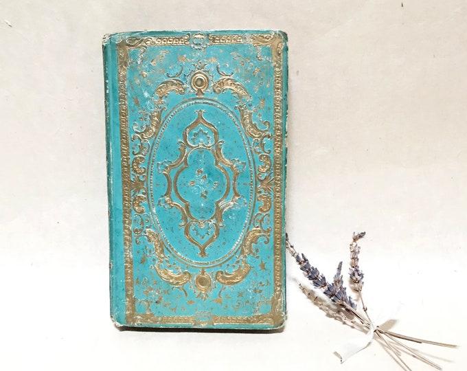 Wedding Guestbook, Ornate Teal Fairytale Book, Boho Chic, Personalized Custom Made Keepsake