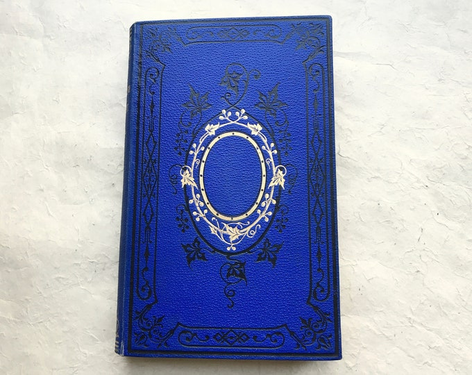 Blue Guestbook for Fairytale Wedding, Vintage Blank Journal, Coptic Bound Personalized Anniversary Journal, Rebound French Book