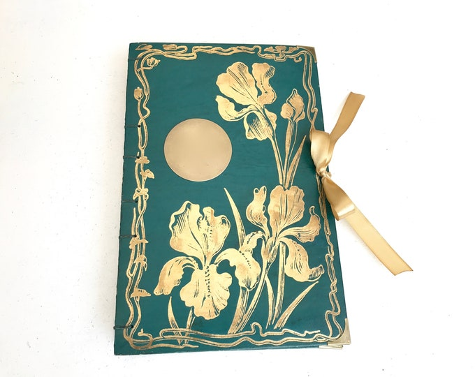 Floral Wedding Guestbook, Emerald Green Anniversary Journal, Custom Blank Book for Events, Personalized with Inscription, Hand bound antique