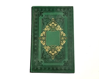 Large Fairytale Wedding Guest Book, OOAK Green and Gold Ornate Scrapbook made from an Antique French Book, Blank Journal Gift Idea