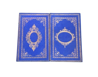 Personalized Blank Book for Artist, Writer or Wedding Guestbook, Antique French Book in Blue with Gold Accents, Boho Rebound Journal