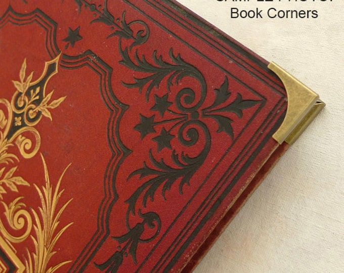Upgrade for Guestbook or Journal, Brass Metal Book Corners