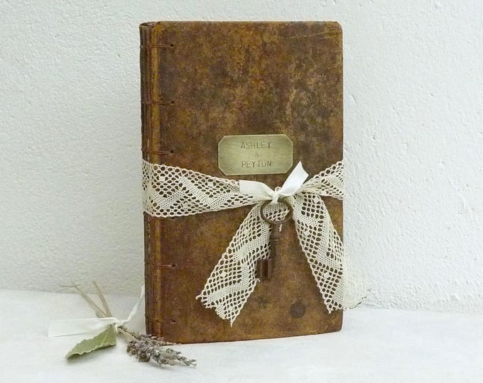 Large Leather and Lace Guest Book, Personalized Blank Book for Wedding, Rustic Guestbook SAMPLE