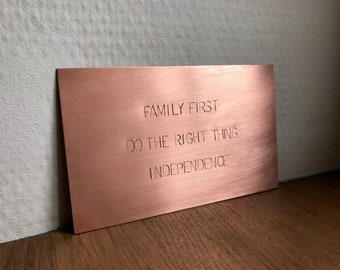"Hand Stamped Copper Sign 5x3"" (13x8cm) or 4x4"" (10x10cm) Frameable Brass Wall Plaque, Memorable Keepsake"