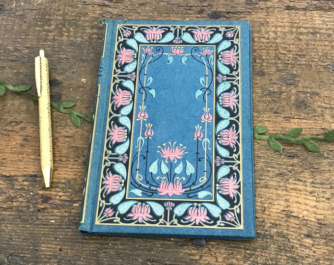 Blank Journal, Coptic Sketchbook or Wedding Guestbook, Art Nouveau floral antique cover, Hand Bound, Made in France