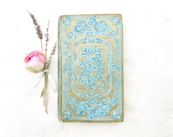 Handmade Guestbook Unique Keepsake for Wedding Vows Blank Journal in Blue and Gold made from an antique Ornate French Book