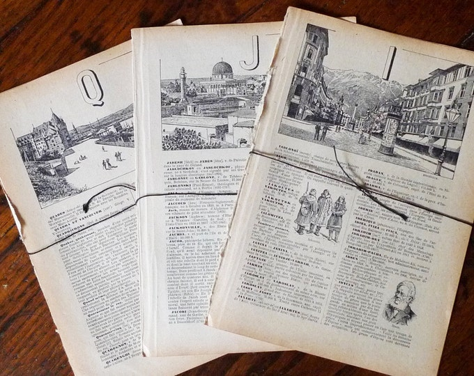 French Dictionary Pages Vintage Paper Bundle Ephemera Illustrated Text DIY Decor Scrapbooking Geography & History