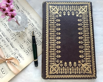 Ornate Brown and Gold Guestbook, Antique Blank Book, Hand Bound Personalized Journal, Engagement Gift, Rebound French Book