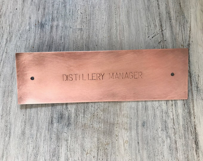 "Large Hand Stamped Copper Sign Door, Desk or Mailbox Plates, 6 x 1.5"" (15.2 x 3.8cm), With or Without Holes"