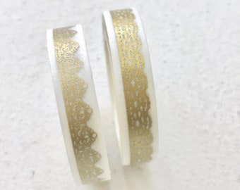 2 rolls Lace Washi Tape, 8mm Narrow Gold Foil Decorative Scrapbook Adhesive, Wedding Photo Guestbook Supply, Pretty Tape