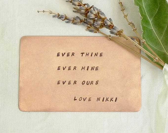 Copper Wallet Card Custom Message, Personal Mantra, Brass Wedding Vow Keepsake, Mother's Day Gift for Her, Hand Stamped Love Note 8.5x5.3cm