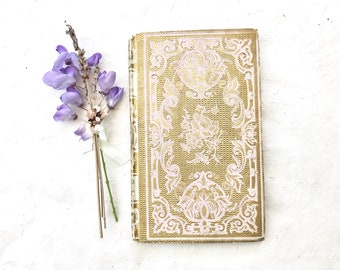 Wedding Guest Book, Elegant Personalized Blank Book, Anniversary Gift, Keepsake Memento, Ornate Guestbook, Rebound Antique Book, Small