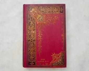 Wedding Guest Book, Personalized Scrapbook, Literary Anniversary Keepsake Victorian Journal Custom Made Red Antique Large Rebound Blank Book