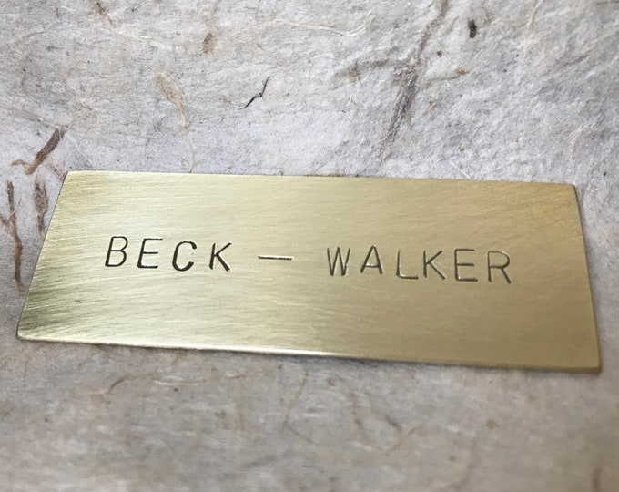 8 x 2 centimeter Hand Stamped Brass Nameplate Mailbox Tag Personalized Door Plaque
