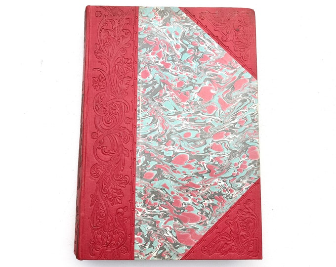 Boho Blank Book Journal for Artist or Wedding Guestbook, upcycled retro Vintage French Marbled Cover, Coptic Bound