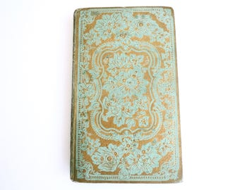 Unique Wedding Guest Book Personalized Anniversary Keepsake Gift Journal made from an ornate antique French book in Green & Gold