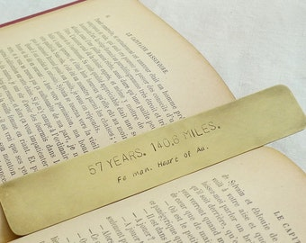 Personalized Bookmark Hand Stamped with 2 Lines of Text, Brass Metal Page Mark, Unique Gift Idea, 14 x 2.5 cm