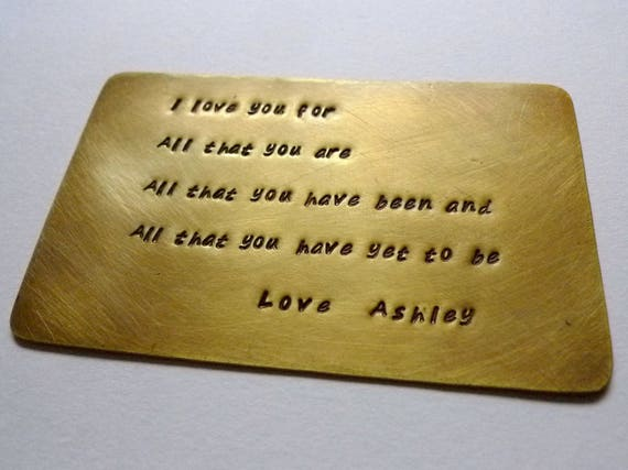 Custom Personalized Wallet Card, Stamped Love Note, Anniversary Keepsake, Wedding Memento