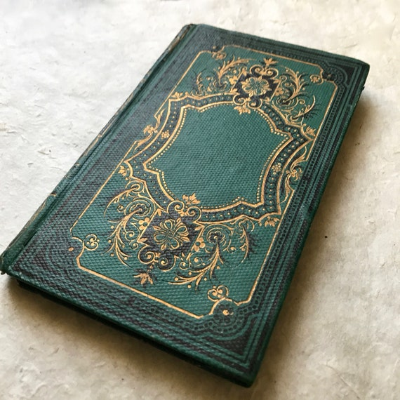Fairytale Green Guestbook, Wedding Vow Book, Unique Anniversay Keepsake, Rebound Antique Journal, One of a kind Gift Idea