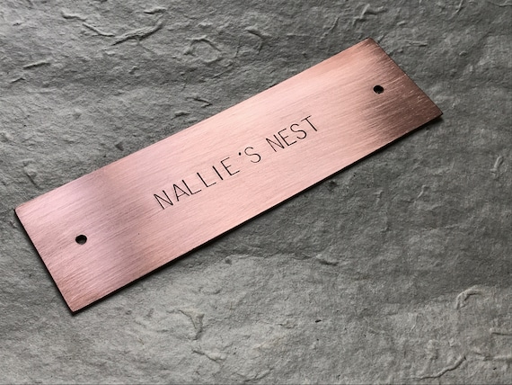 "Large Hand Stamped Copper Sign Door, Desk or Mailbox Plates, Up to 6 x 1.5"" (15 x 3.8cm), With or Without Holes"