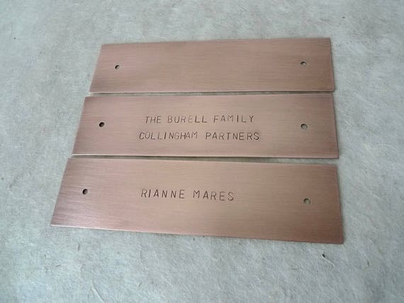 "Hand Stamped Copper Plate or Brass Sign, Memorial Keepsake, up to 6 x 1.5"" (15 x 3.8cm), With or Without Holes, Custom Sizing Available"