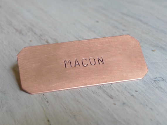 Copper Nameplate (6 x 2.5 CM), Hand Stamped Plate, Personalized Plaque, Crib Plate, Mail Box Tag, Keepsake, Gift Idea
