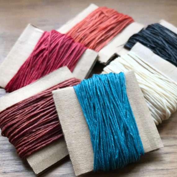 10 meters of 4 ply Crawford Linen Thread in Multiple Colors, Bookbinding Supply, Vegan Waxed Jewelry Cord