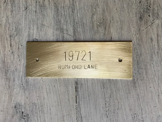 "Custom Hand Stamped Brass Plate, Large Metal Sign, up to 5.5 x 1.5"" (14 x 3.8cm), With or Without Holes, Alternative to Engraved Plates"