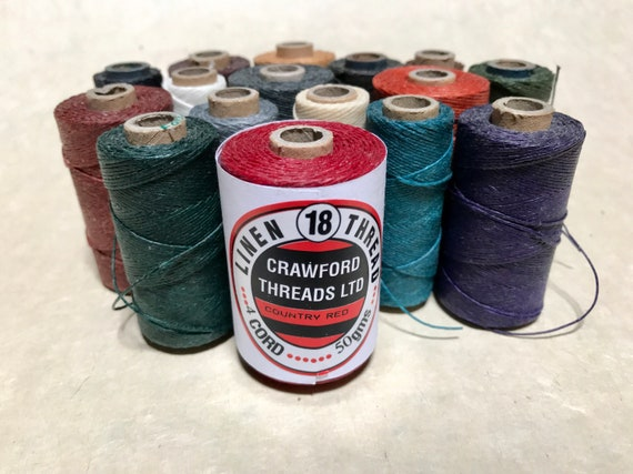 20 meters of 4 ply Crawford Linen Thread in Multiple Colors, Bookbinding Supply, Vegan Waxed Jewelry Cord