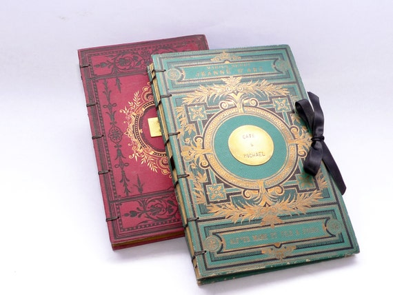 Photo Guestbook, Wedding Scrapbook Album, Honeymoon Keepsake, Anniversary Journal, Personalized Wedding Book, Rebound Vintage Book