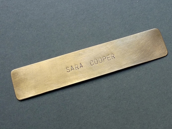 Personalized Bookmark, Hand stamped Brass Page Mark keepsake Gift for book lovers, 1 line, 13 x 2 cm