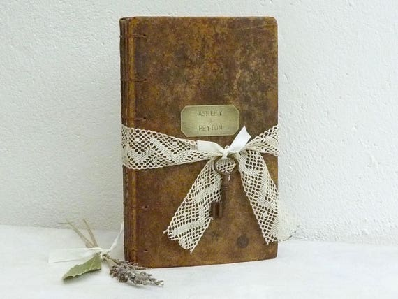 Large Leather and Lace Guest Book, Personalized Blank Book for Wedding, SAMPLE