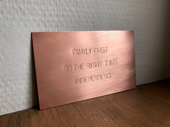 "Hand Stamped Copper Sign 5x3"" (13x8cm) or 4x4"" (10x10cm) Framable Brass Wall Plaque, Memorable Keepsake"