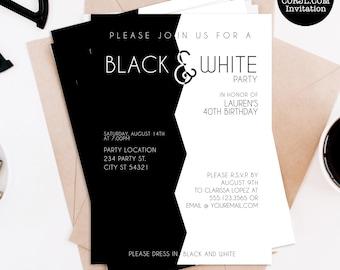 Black and White Theme Celebration Invites Digital Download Adult Invitation Black and White Party Invitation Edit Yourself Template