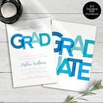 Blue and Teal Graduation Invitations, Graduation Party Invitations, College Graduate, High School Graduate, Announcements