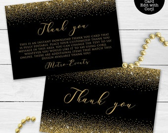 Gold Thank you card template #BSC020GLD Thank you note Wedding thank you cards Simple Thank you cards