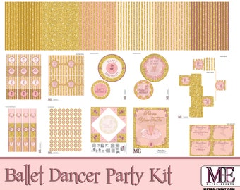 Ballet Dancer Party Decorations, Instant Download, Dancer  Banner, Dance Birthday, Dance Cupcake Toppers, Dancing Birthday
