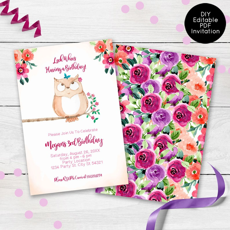 Owl Birthday Invitations Colorful Floral Party Invites