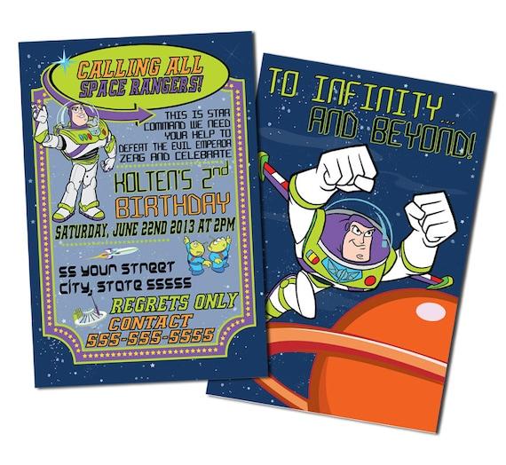 Buzz Lightyear Birthday Invitations Toy Story