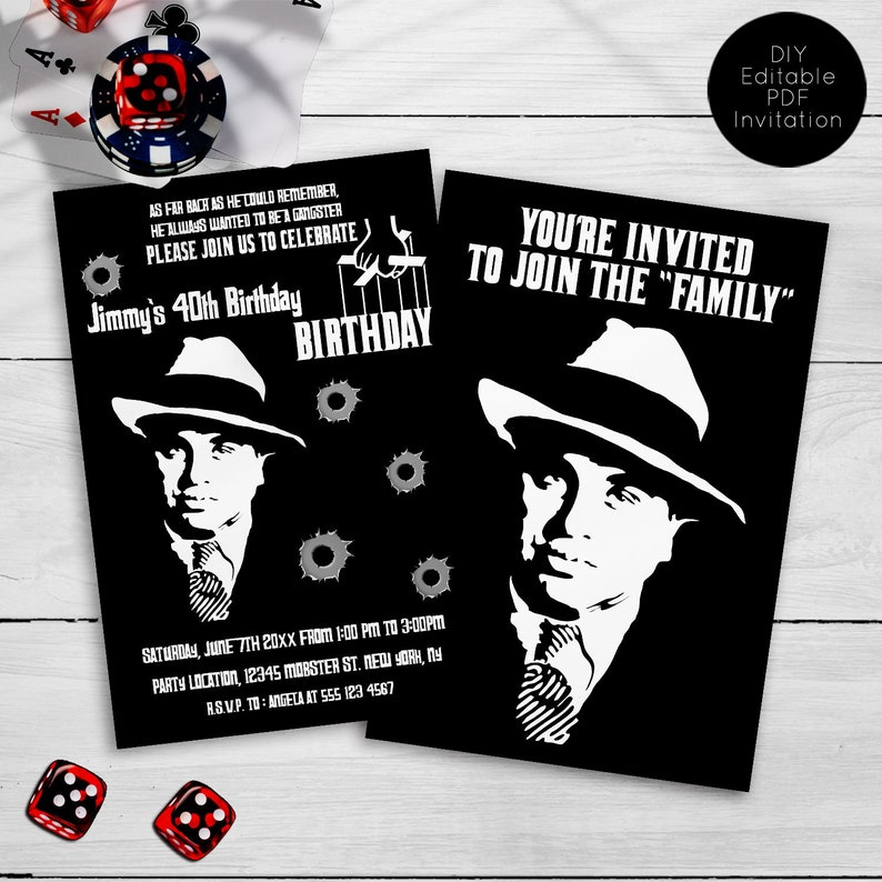 Mob Party Invitations Mobster Mafia Adult Gangster