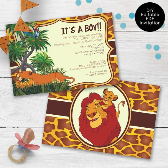 Lion King Baby Shower Invitations Custom Baby Shower Invitations