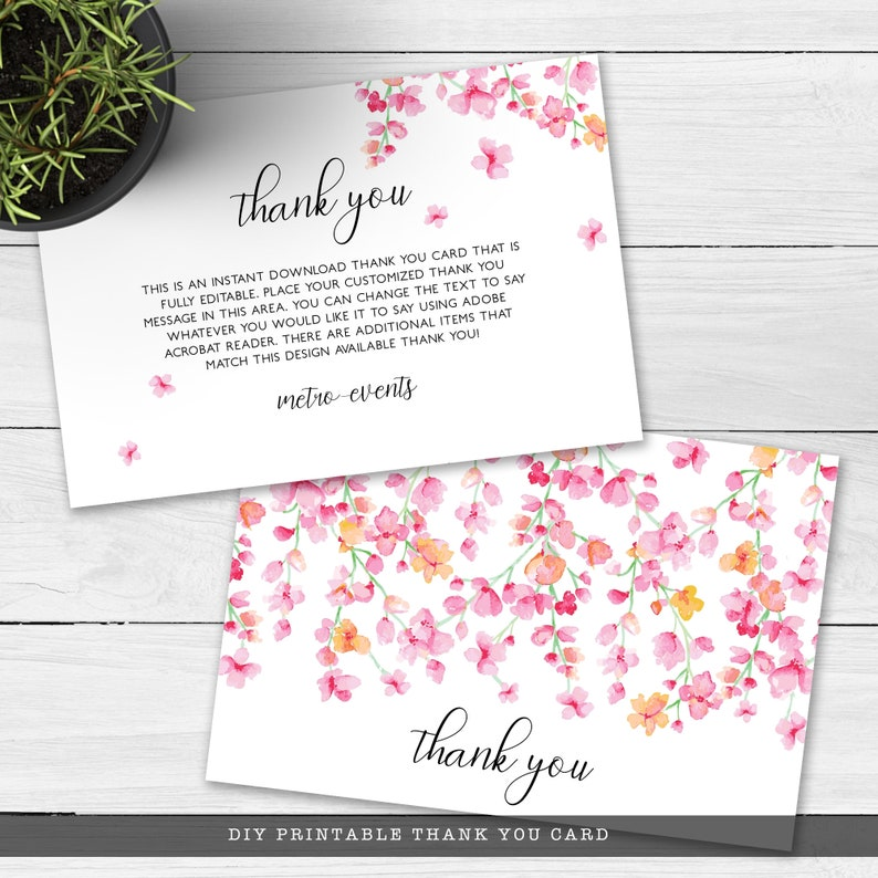 Cherry Blossom Thank you Card Printable Thank You Card Thank You Note Pink Floral Thank You Cards Custom Thank You Cards Editable Card
