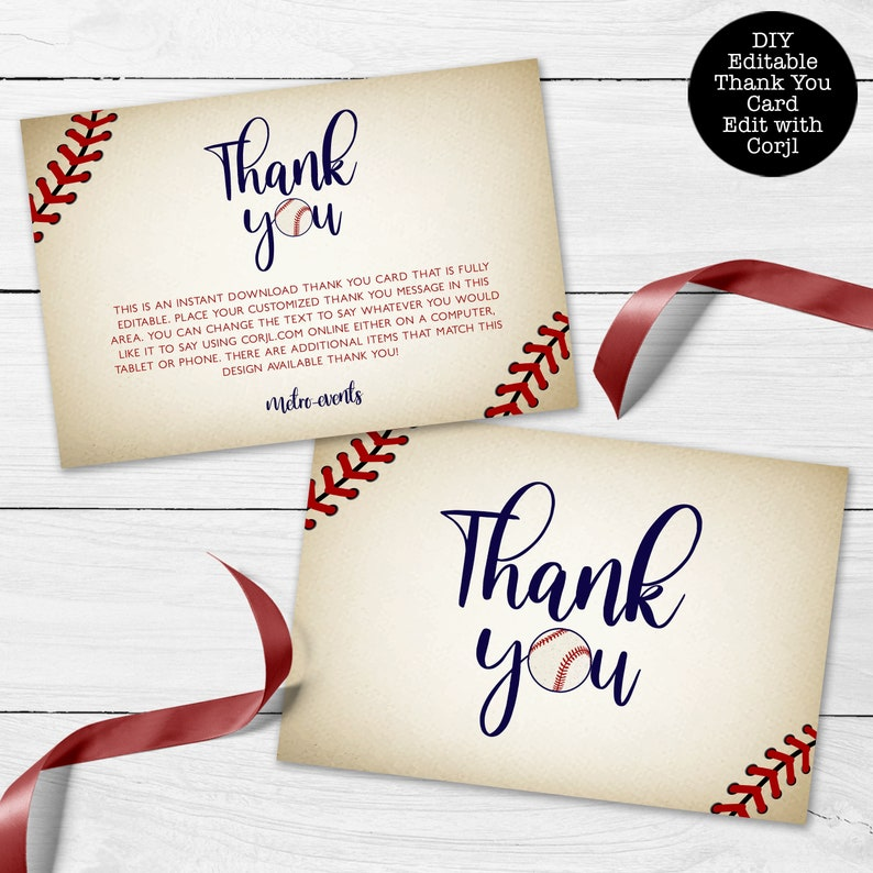 Instant Download Corjl Template Vintage Baseball Thank You Card Printable Thank You Card Baseball Thank You Card Sports Thank You Notes