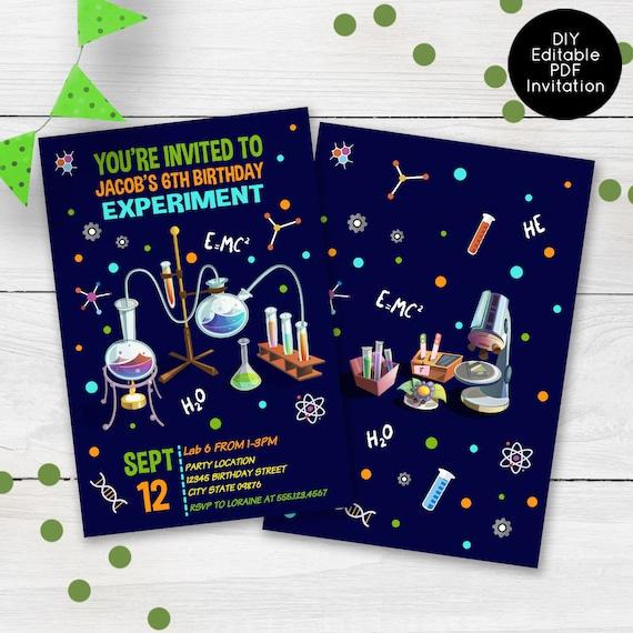Mad Science Party Birthday Invitation, Science lab Birthday Invite, Boys  Party Invitations