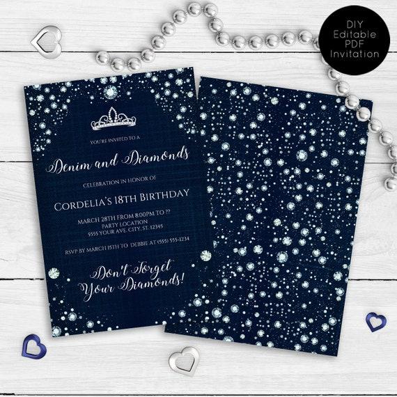 Denim And Diamonds Party Invitations Printable Invitation