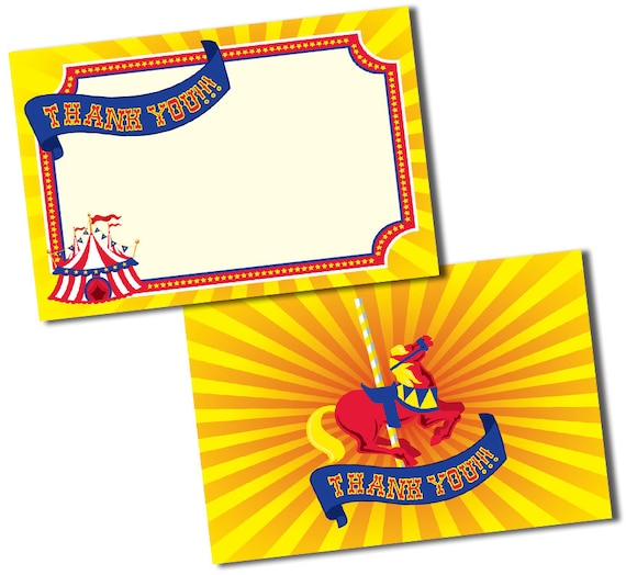 Circus Thank You Cards Carnival Thank You Notes Circus Or Etsy